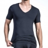 OLAF Benz T-SHIRT v-neck-low RED1203 home muscle black