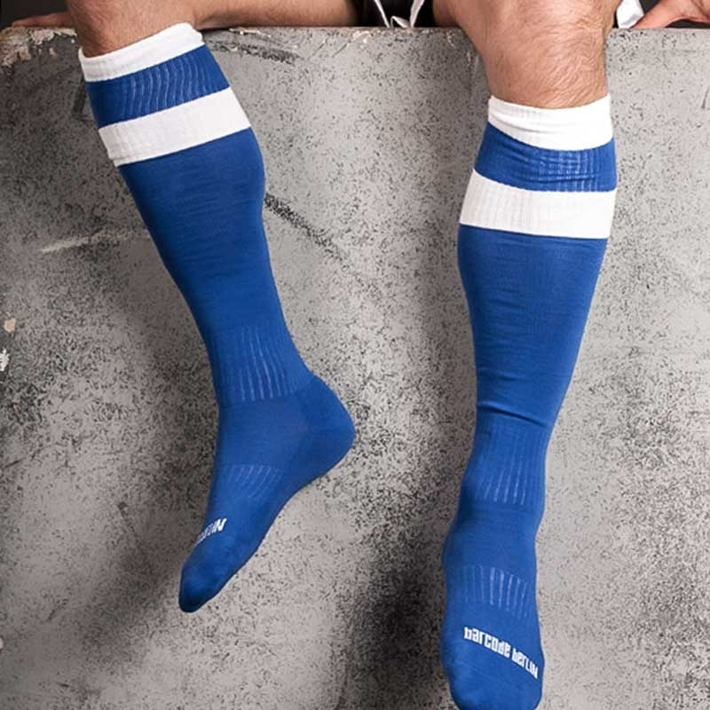 BARCODE Berlin KNIE STRUMPF football-socken blue-white