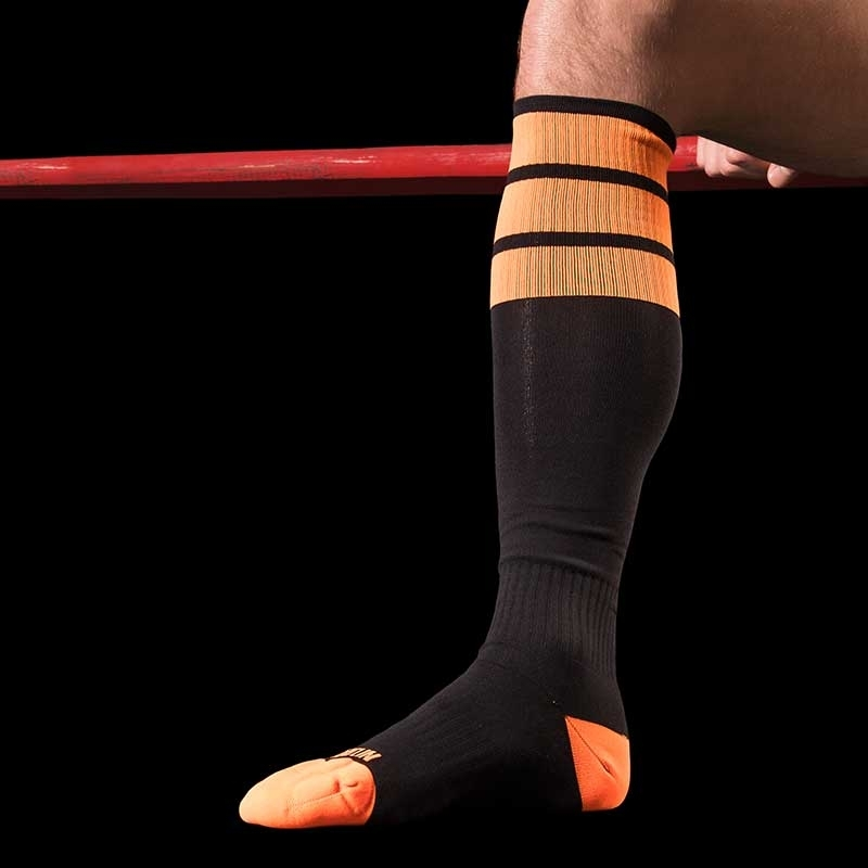 BARCODE Berlin KNEE SOCKS sport neon black orange