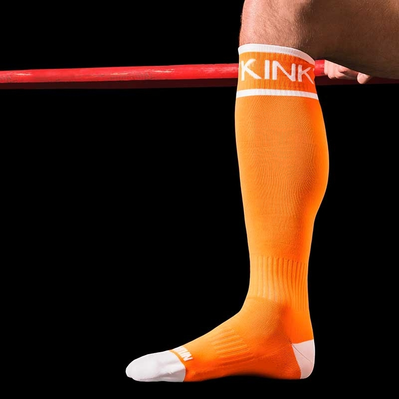 BARCODE Berlin KNIE STRUMPF neon KINKY game socken orange