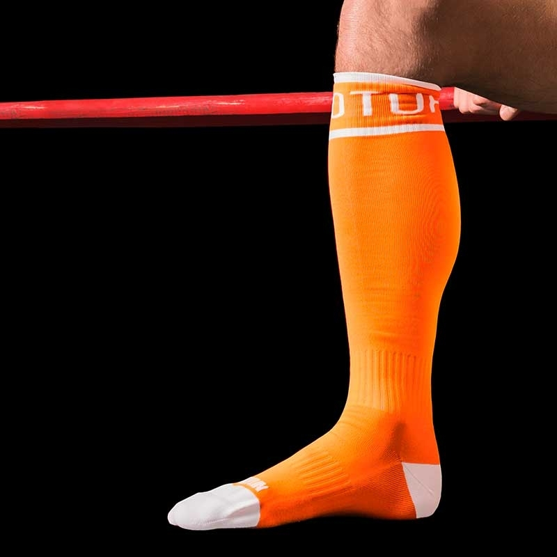 BARCODE Berlin KNIE STRUMPF neon TURBO TOP game socken orange
