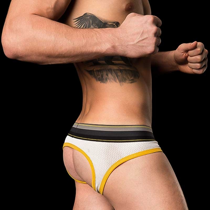 BARCODE Berlin BRIEF MESH limited Bond Street backless white-yellow