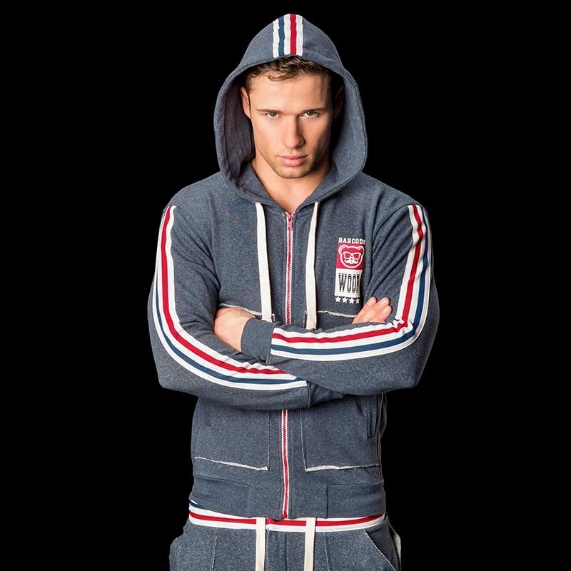BARCODE Berlin SWEATJACKE Hoody Paddy 91041Stretch Fleece blue