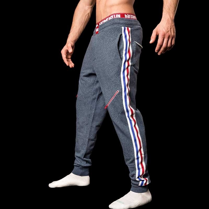 BARCODE Berlin SWEAT PANTS gym Mitch 91046 Stretch Fleece blue