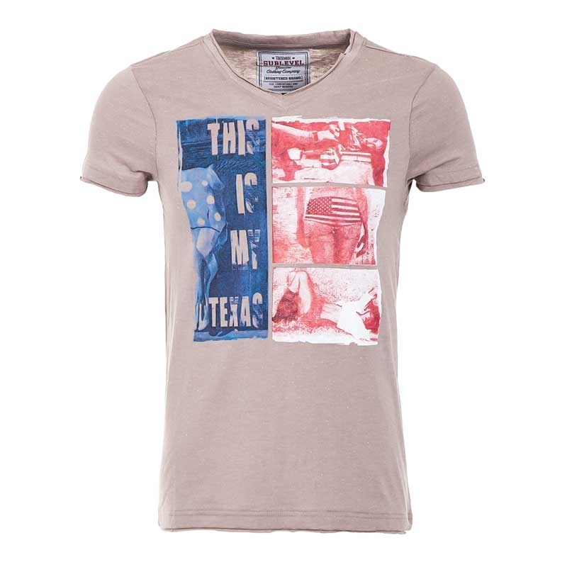SUBLEVEL T-Shirt relax amerika NEW TEXAS beige
