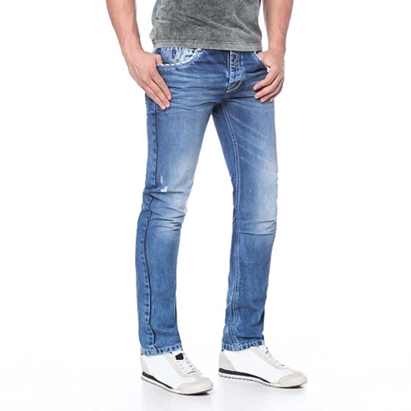 CIPO and BAXX JEANSHOSE Slim Fit C-1068 used look basic 5-Pocket bluejeans