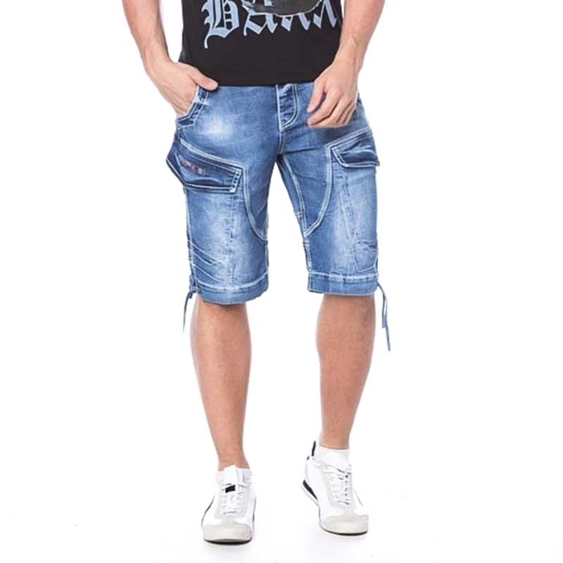CIPO and BAXX SHORTS CAPRI- JEANS Regular Fit CK106 cargo style XX-Pocket blue