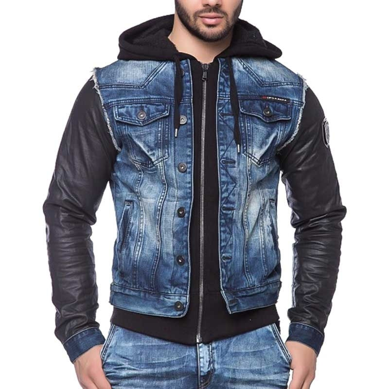 CIPO and BAXX JEANSJACKE C1290 Denim Leder Look