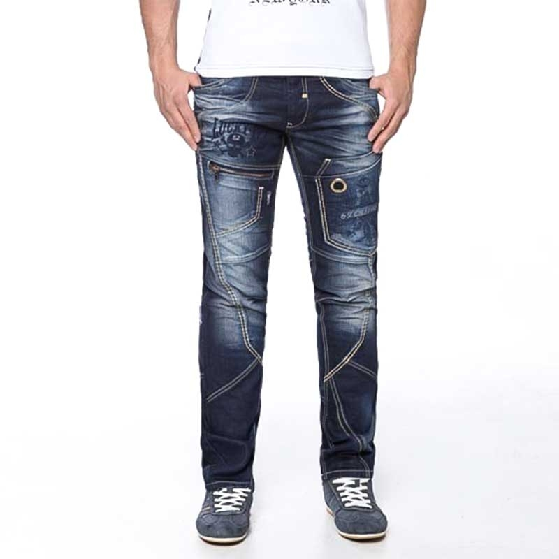 CIPO and BAXX JEANSHOSE Slim Fit C-1114 Zip Art Design 5-Pocket darkblue