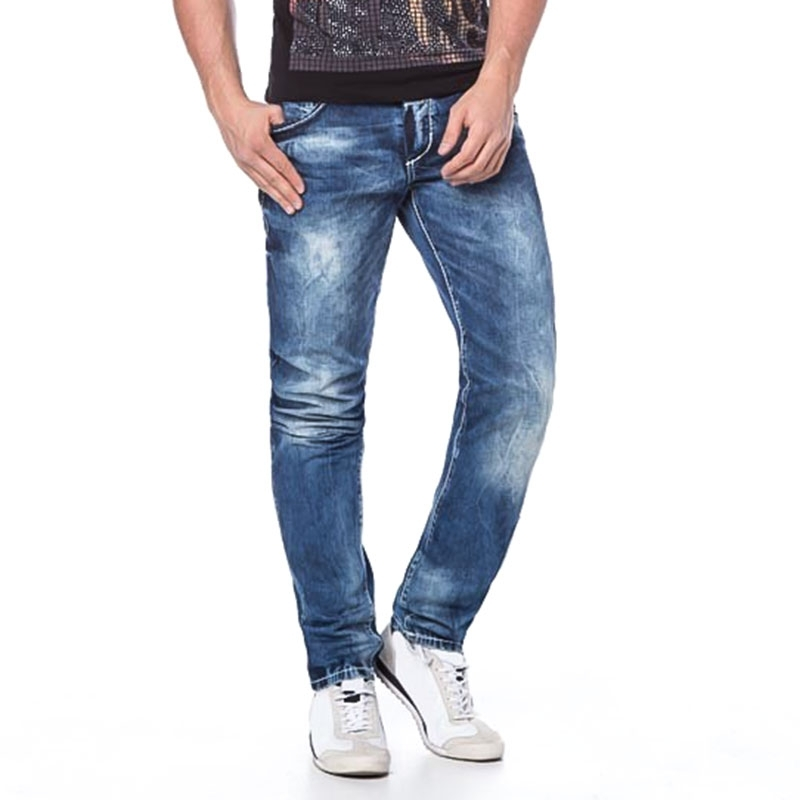 CIPO and BAXX JEANSHOSE Regular Fit ROUTE-62 C-44013 used look 5-Pocket bluejeans
