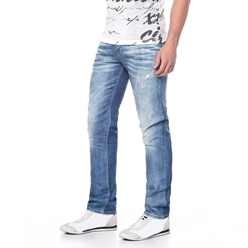 CIPO and BAXX JEANSHOSE Regular Fit STREET CD-123 5-Pocket used look blue