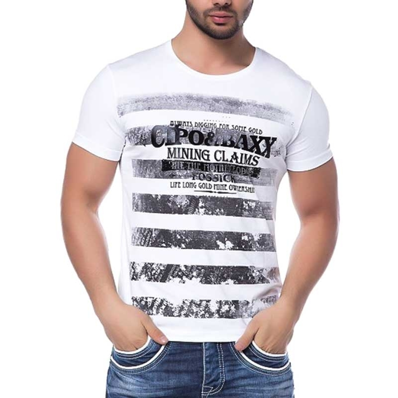 CIPO and BAXX T-SHIRT slim Fit LINE CT102 mining claims white