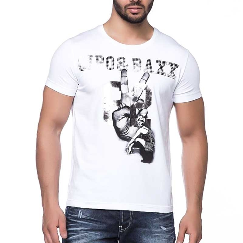 CIPO and BAXX T-SHIRT Glitter MAN slim Fit CT103 Player 62 white