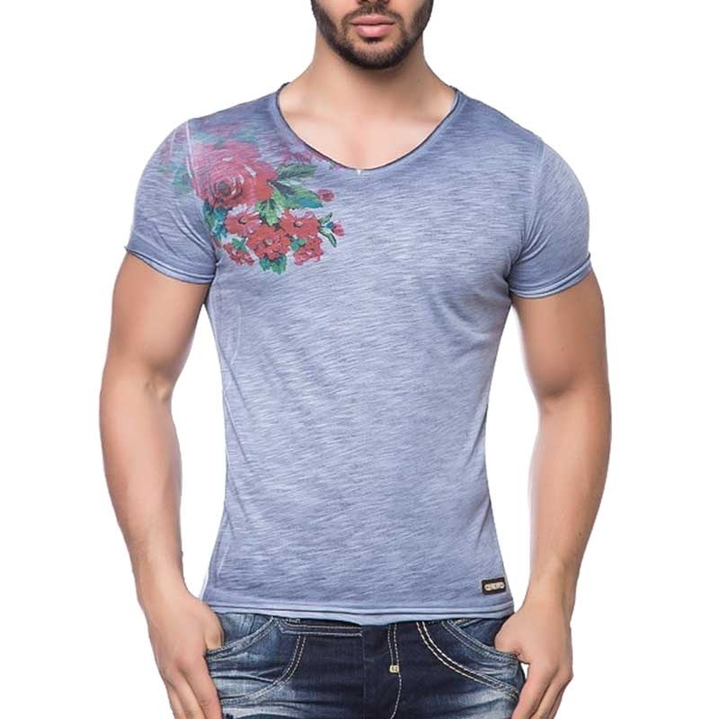 CIPO and BAXX T-SHIRT casual ROSENdorn CT104 used look blue
