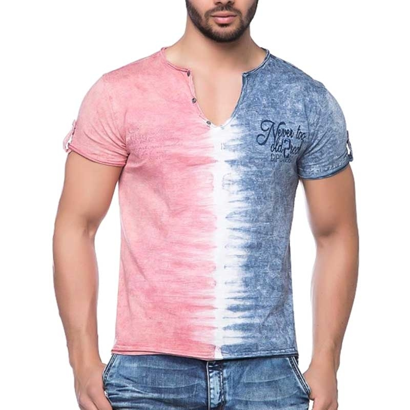 CIPO and BAXX T-SHIRT casual HALF-HALF slim Fit CT109 used look red-blue