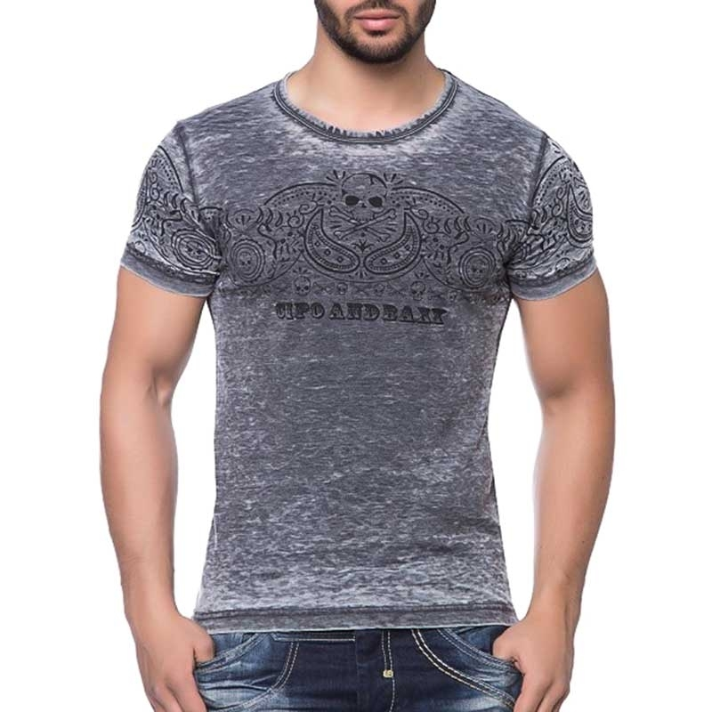 CIPO and BAXX T-SHIRT dark LEVEL slim Fit CT113 used look anthrazit