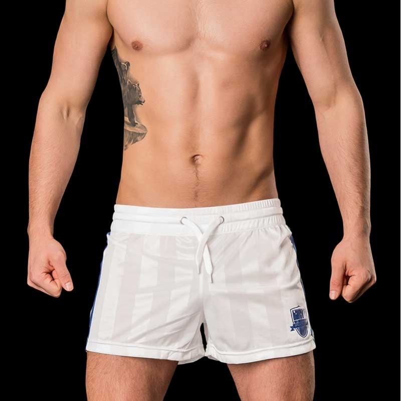 BARCODE Berlin SHORTS Fitness Fussball MESUT 91029 shiny white-blue