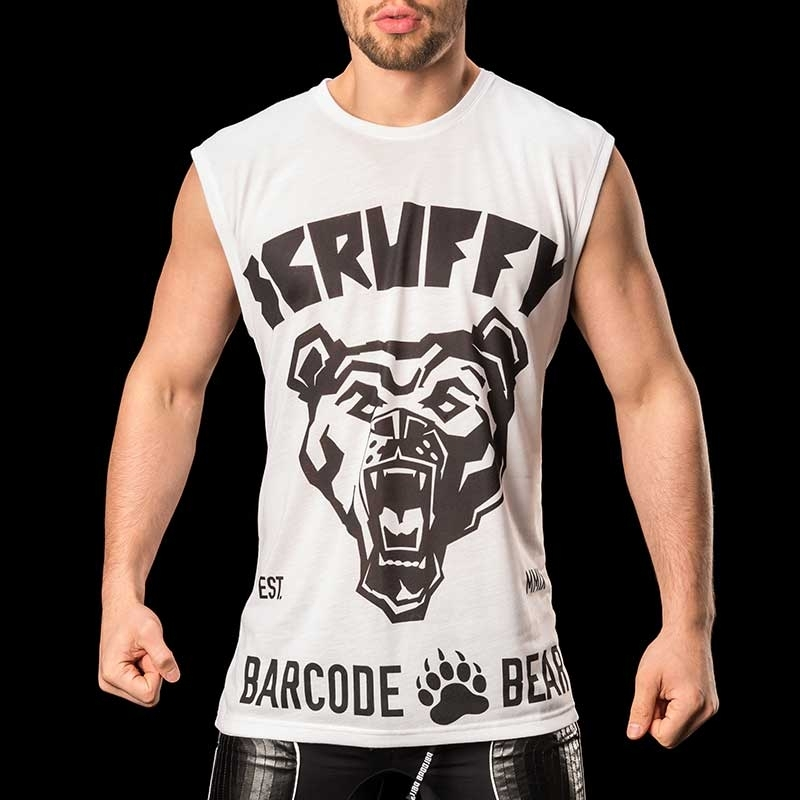 BARCODE Berlin TANK Top casual shirt SCRUFFY 91085 wild white-black