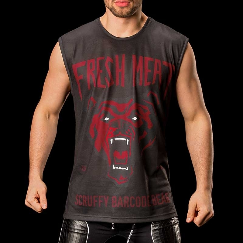 BARCODE Berlin TANK Top casual shirt fresh MEAT 91087 wild bear red