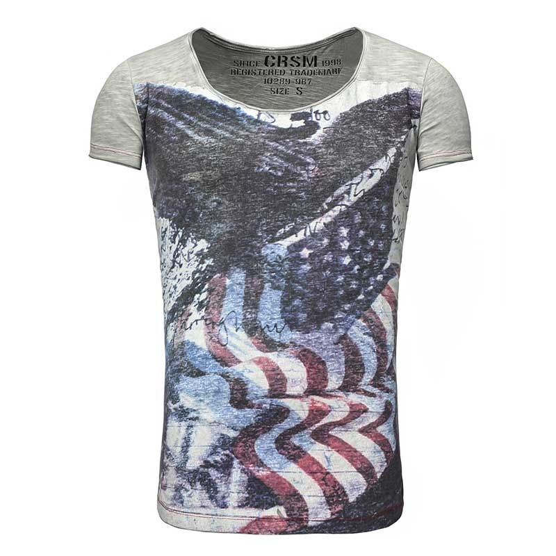 CARISMA T-SHIRT regular FLAGGE Freiheit CRSM T-102 USA Style grey