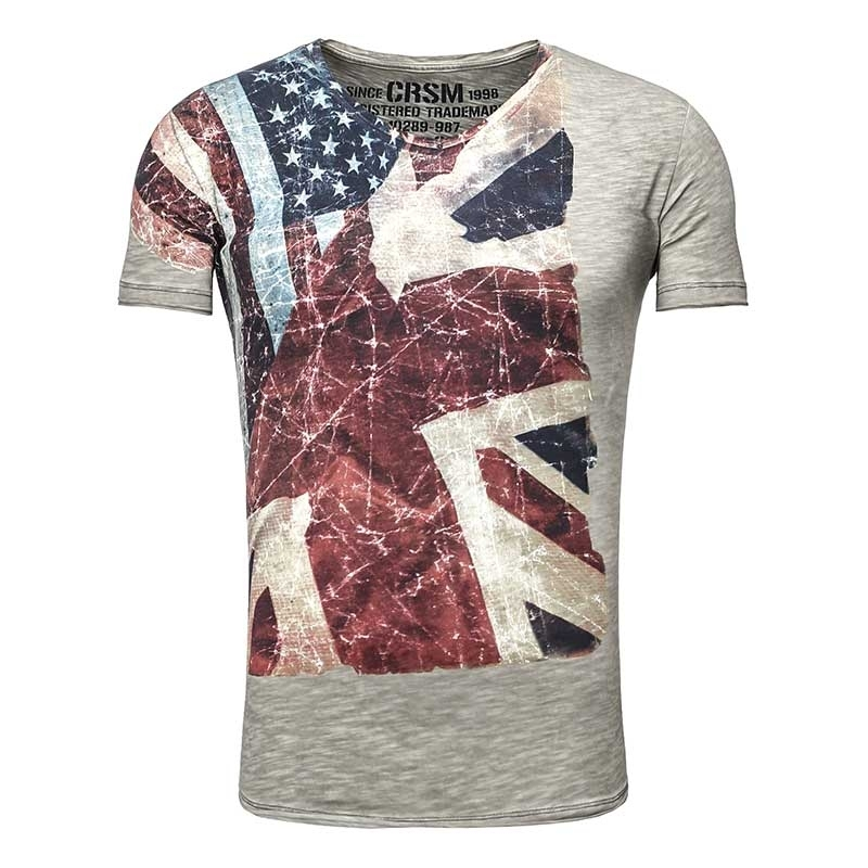 CARISMA T-SHIRT slim USA-Flagge CRSM 4087 Amerika zone grey