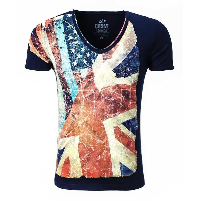 CARISMA T-SHIRT slim USA-Flagge CRSM 4087 Amerika zone navy