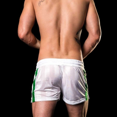 BARCODE Berlin SHORTS Fitness Fussball MESUT 91029 shiny white-green