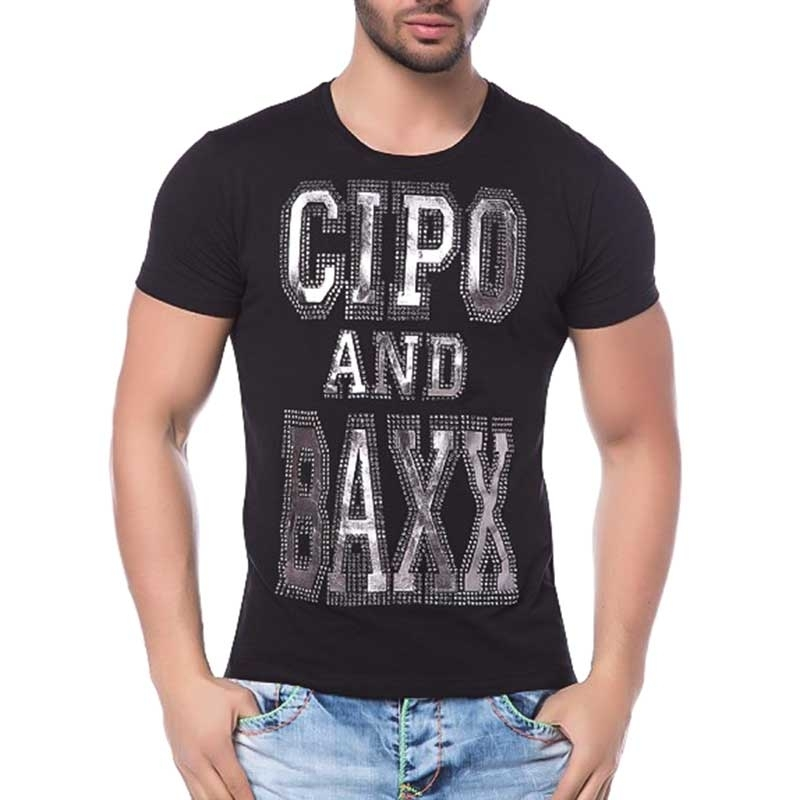 CIPO and BAXX T-SHIRT shiny LABEL slim Fit CT118 bodystyle black