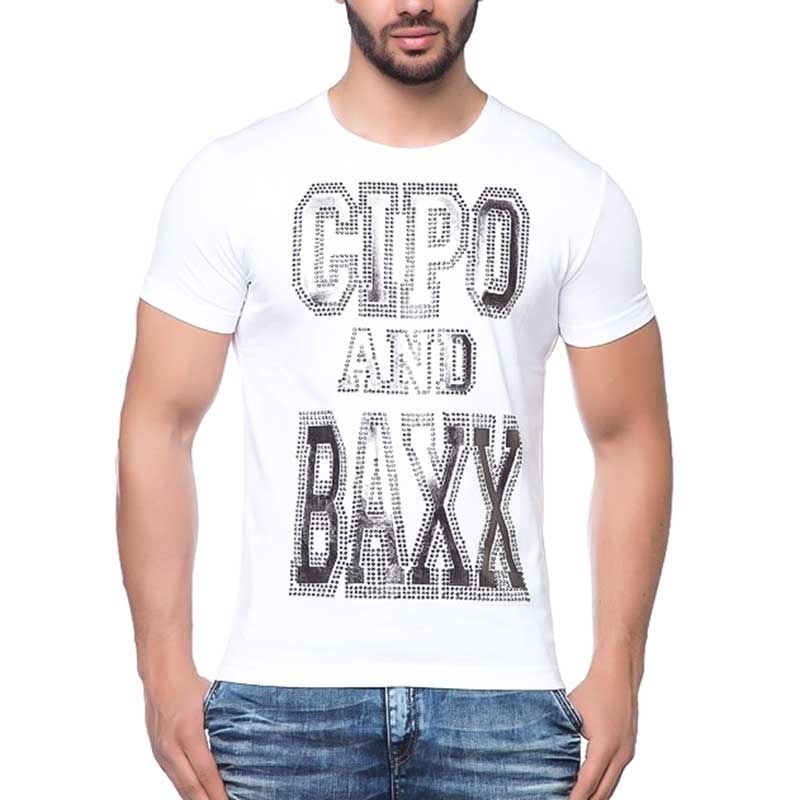 CIPO and BAXX T-SHIRT shiny LABEL slim Fit CT118 bodystyle white