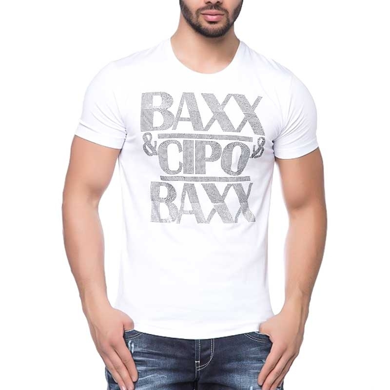 CIPO and BAXX T-SHIRT shiny BRAND slim Fit CT121 bodystyle white