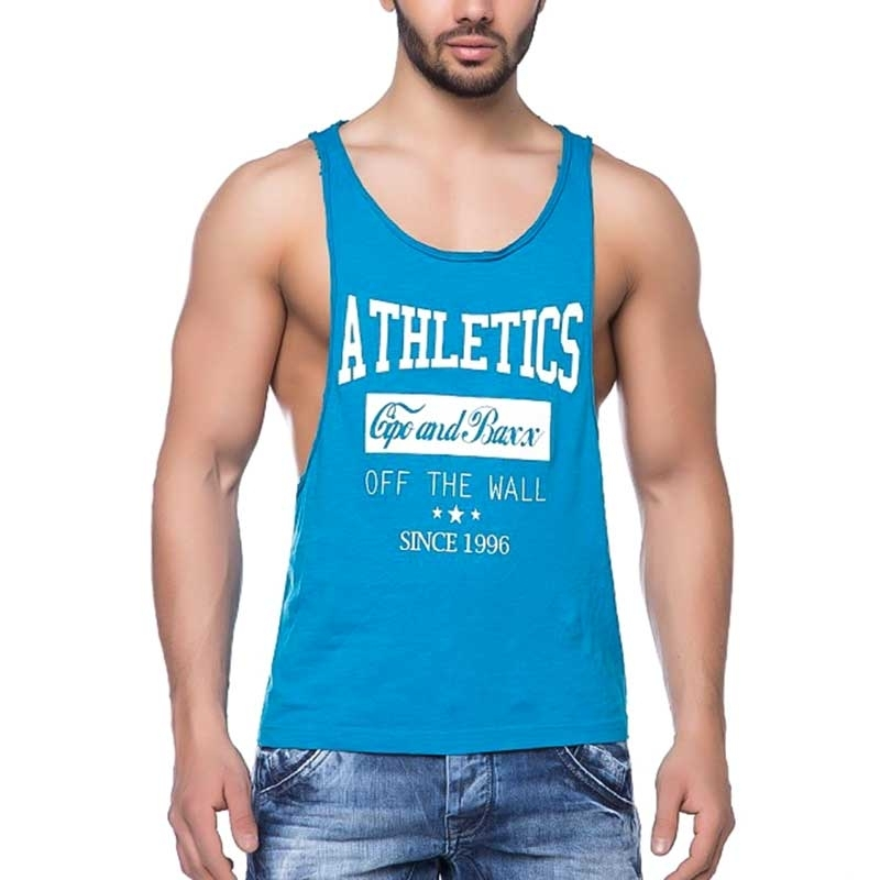 CIPO and BAXX TANK Top game ATHLETICS low Fit CT141 bodyfit blue
