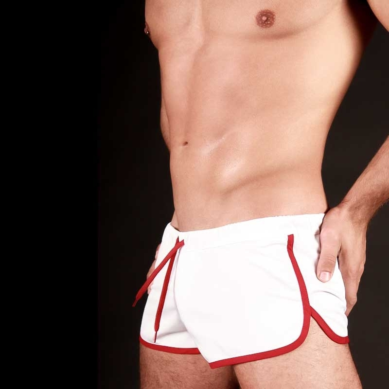 BARCODE Berlin SHORTS gym sprint 10090 weiss-rot